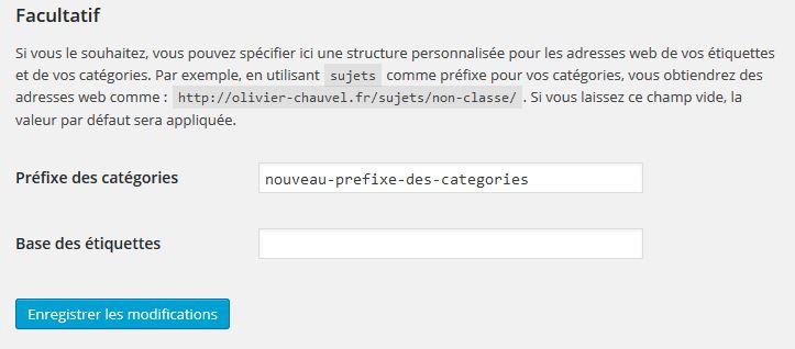 modifier le préfixe des URL de catégories wordpress