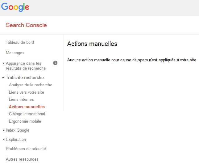 interface webmaster tools pénalité manuelle google