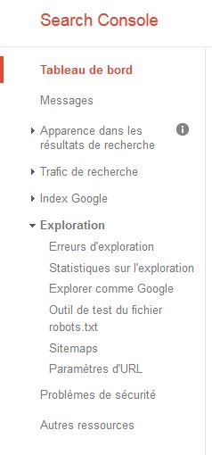 le menu de la google search console