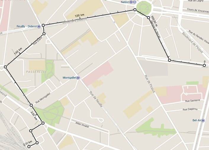 calculer une distance sur google maps entre deux points
