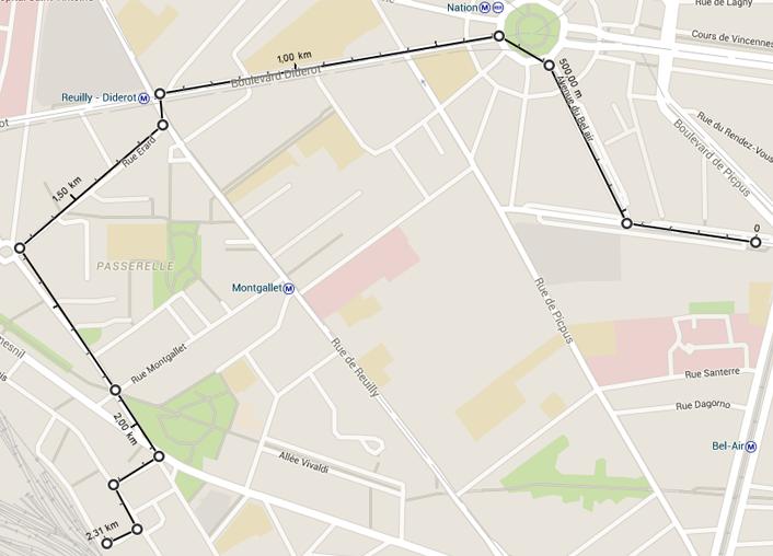 mesure de la distance entre plusieurs points sur google maps