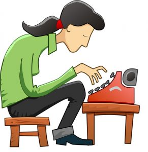 étudiant devant une machine à écrire
