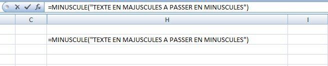 passer de majuscule en minuscules avec Excel